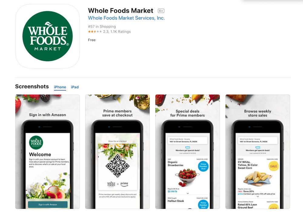 ホールフーズマーケットのスマホアプリ
