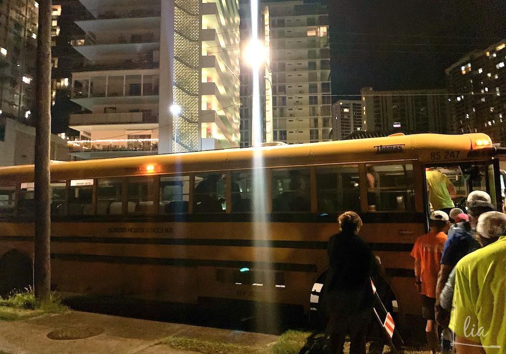 ホノルルマラソン当日の送迎バス